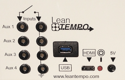 Image showing the inputs and outputs of the Lean Tempo Basic Production timer - Sensor Inputs, HDMI/DVI Output to TV